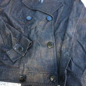 Talbots Black Wash Double Breast Denim Jean Jacket